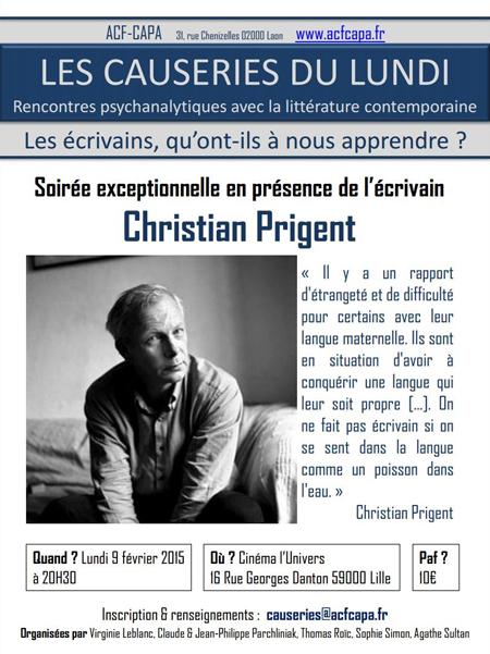 Affiche Causeries Christian Prigent (9.02.15)_ BD